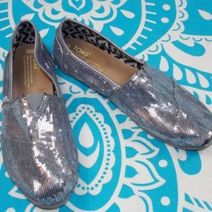 Silver Sequin Toms womens size 8.5 Slip On